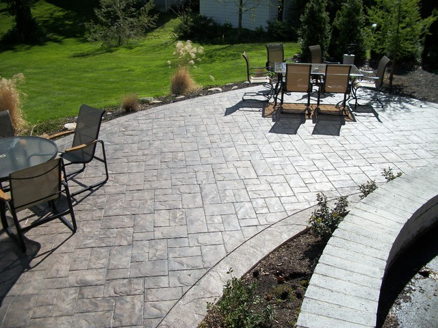 stamped concrete patio Patio Traditional with ashler slate Fordson Concrete