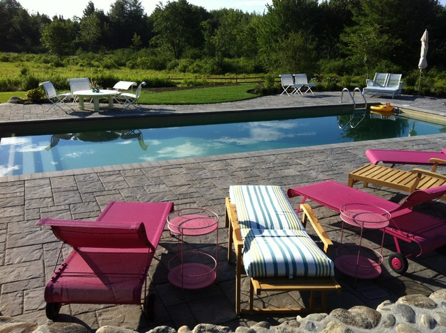 Stamped Concrete Patio Pool Traditional with Chaise Lounge Field Grass