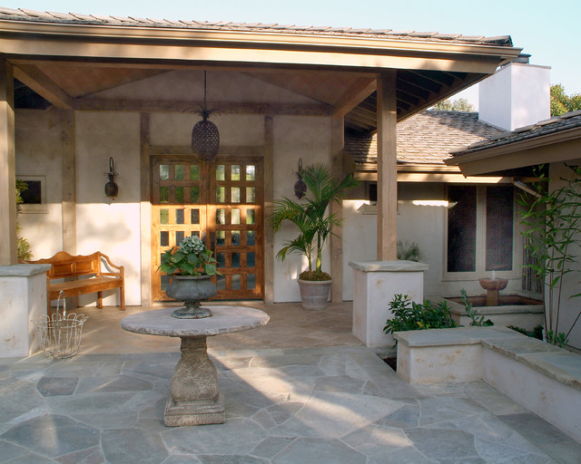 Stamped Concrete Patterns Porch Traditional with Bench Wall Chandelier And