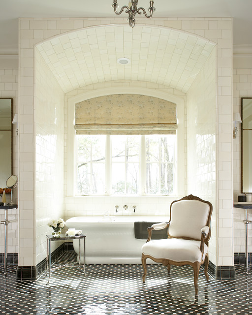 stand alone tubs Bathroom Traditional with alcove arch arch window