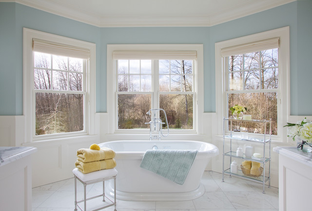Stand Alone Tubs Bathroom Traditional with Alcove Bay Window Blue