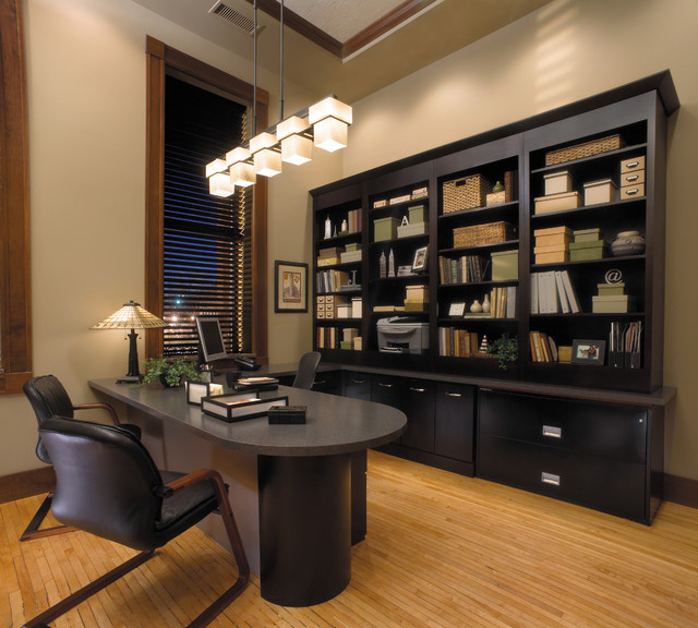 Starmark Cabinetry Home Office Contemporary with Black Cabinets Book Shelf
