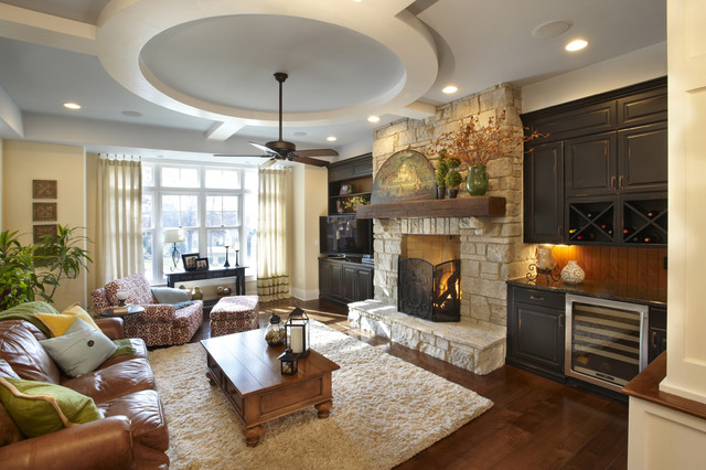 Starmark Cabinets Family Room Traditional with Area Rug Bar Black