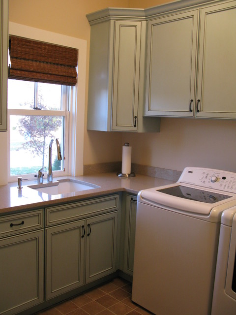 Starmark Cabinets Laundry Room Traditional with Blue Painted Cabinets
