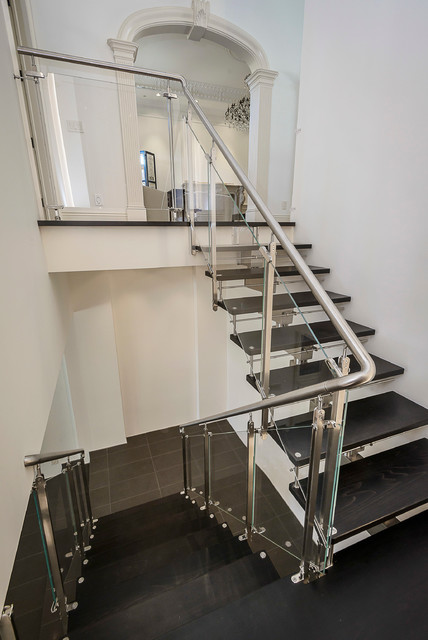 Starphire Glass Staircase Contemporary with Arched Doorway Custom Dark