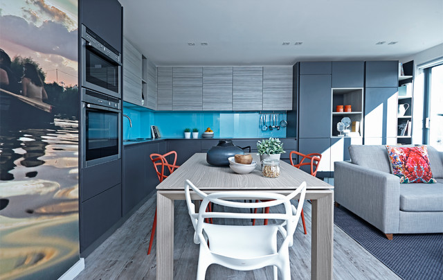 stepladder Kitchen Contemporary with blue Blue and grey