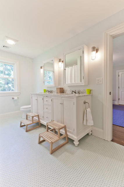 stepping stool Bathroom Traditional with doorway double sinks medicine