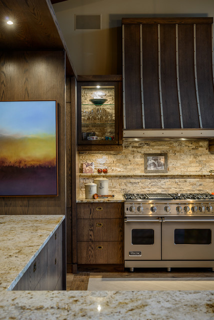 stone backsplash Kitchen Contemporary with accent lighting beige wall