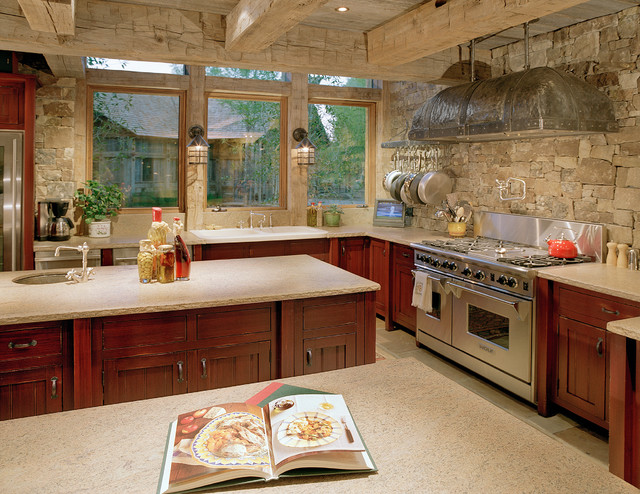 Stone Backsplash Kitchen Rustic with Exposed Beams Island Metal