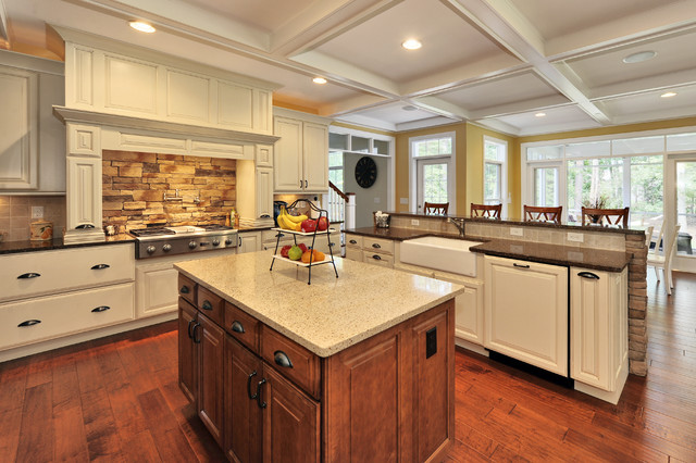 Stone Backsplash Kitchen Traditional with Apron Sink Breakfast Bar