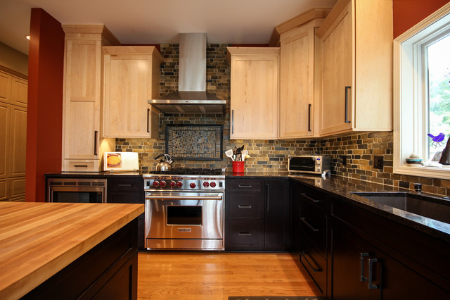 Stone Backsplash Kitchen Transitional with Black Cabinets Black Drawers