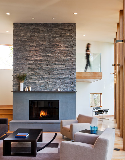 Stone Veneer Fireplace Living Room Contemporary with Armchair Black Coffee Table