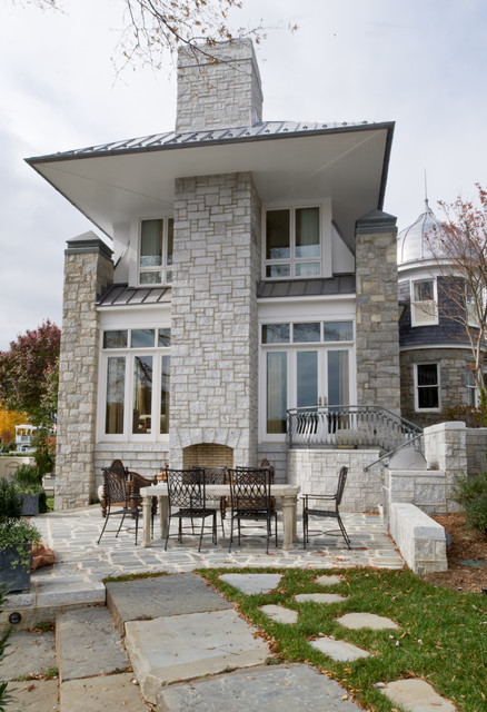 Stone Veneer Siding Exterior Contemporary with Double Glass Door Floor to Ceiling