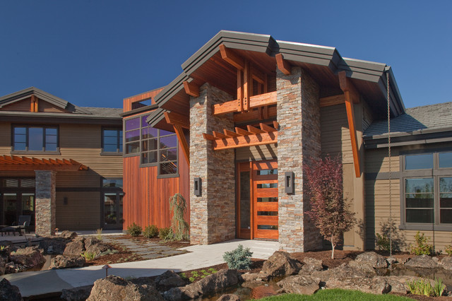 Stone Veneer Siding Exterior Craftsman with Boulders Brown Exterior Brown