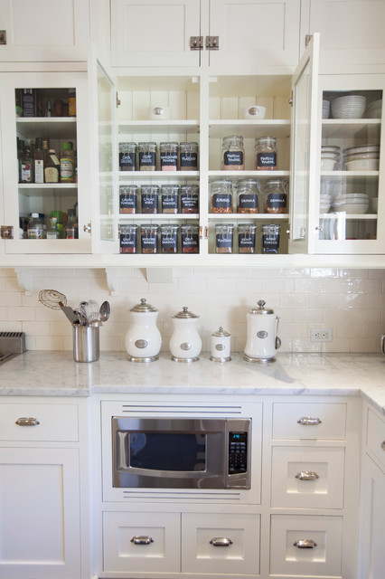 Storage Baskets with Lids Kitchen Traditional with Cup Pulls Glass Front