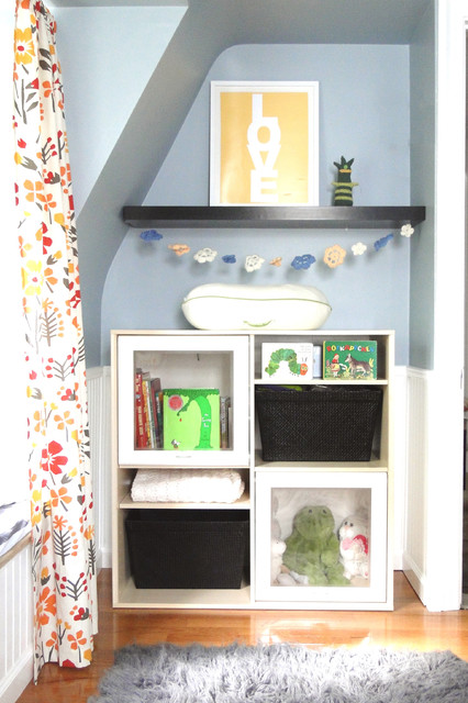 Storage Cubbies Nursery Contemporary with Beadboard Bookshelves Floating Shelves
