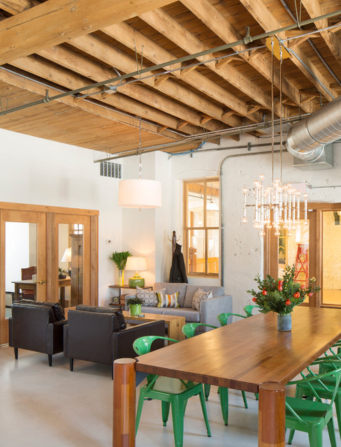 Storehouse Furniture Living Room Industrial with Chandelier Converted Loft Exposed