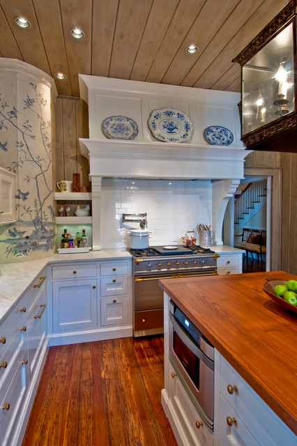 stove hoods Kitchen Rustic with backsplash blue and white