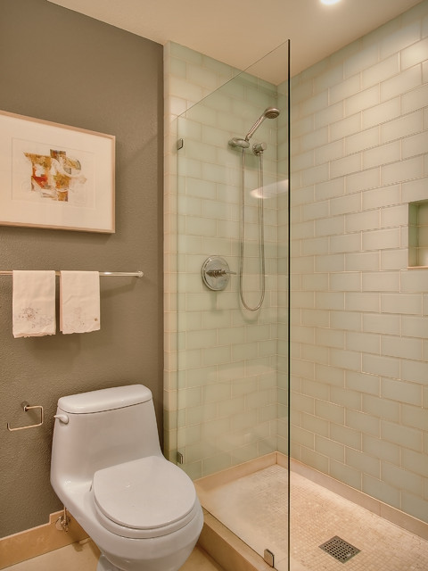 Subway Tile Shower Bathroom Contemporary with Bathroom Tile Glass Tile