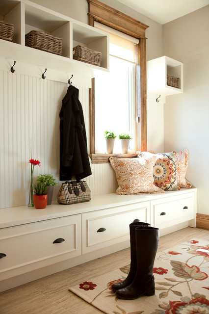 Suction Cup Hooks Entry Traditional with Area Rug Beadboard Boots