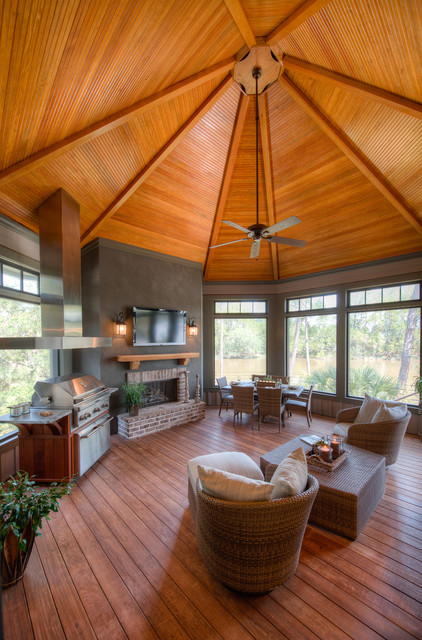 Sunroom Ideas Sunroom Traditional with Accent Ceiling Barbecue Dark