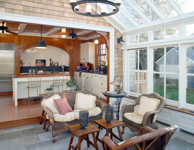 sunroom ideas Sunroom Traditional with arch beige cabinets beige