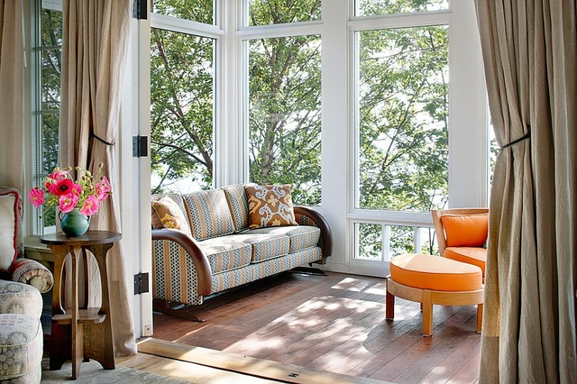 Sunroom Ideas Sunroom Traditional with Deck Decorative Pillows Glider
