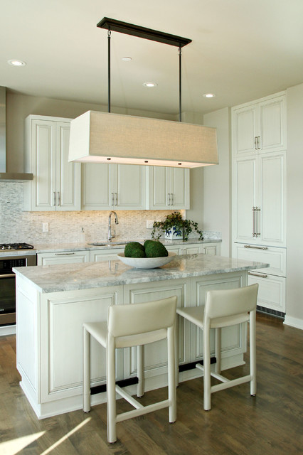 super white quartzite Kitchen Contemporary with beige cabinets beige counter