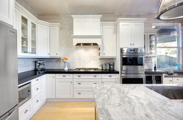 Super White Quartzite Kitchen Traditional with Black Counter Black Countertop