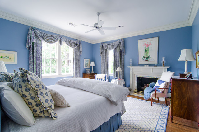 Swag Lamps Bedroom Traditional with Blue and White Bedroom