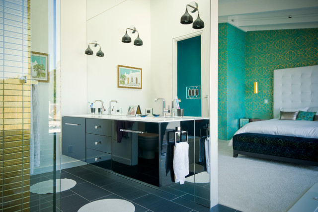 switchplates Bathroom Contemporary with black sconces dark tile