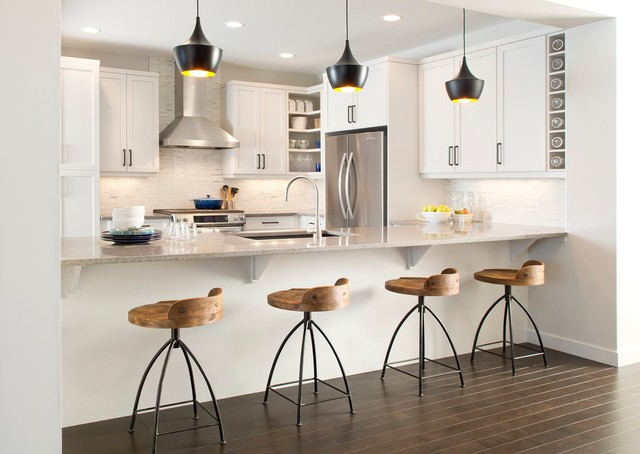 swivel counter stools Kitchen Contemporary with black beat pendant lights