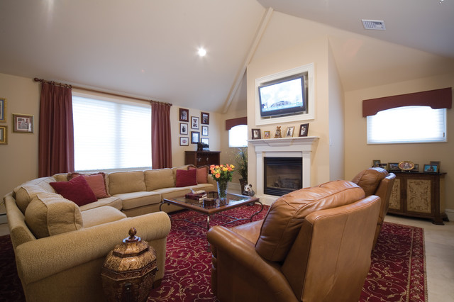 Swivel Recliner Family Room Eclectic with Birdseye Maple Built in C