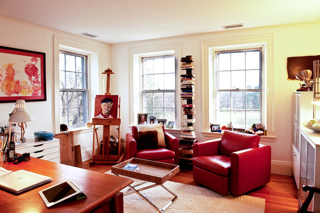 Swivel Recliner Home Office Eclectic with Art Book Shelves Cabinets