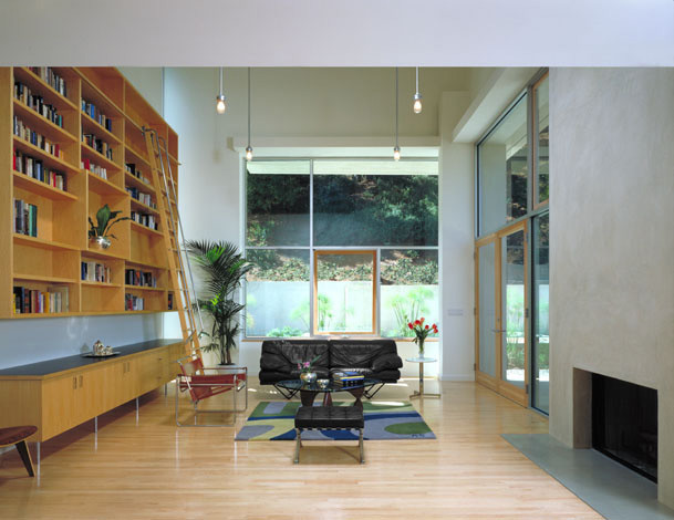 Tall Bookcase Living Room Modern with Area Rug Arm Chair