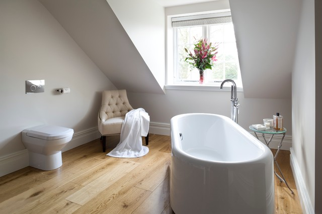 Tankless Toilet Bathroom Contemporary with Armless Chair Attic Ceiling