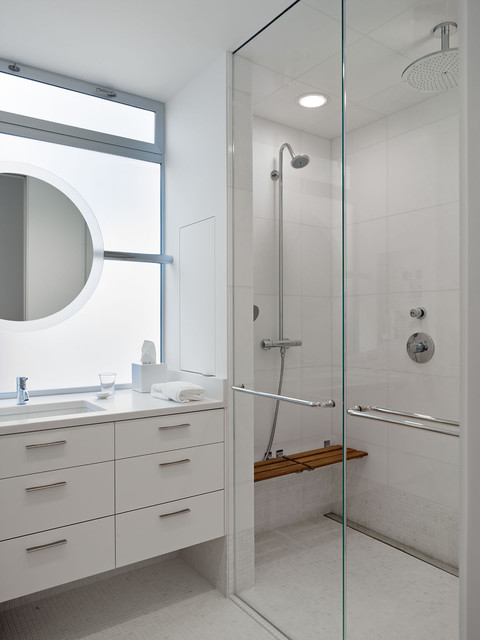 Teak Shower Bench Bathroom Modern with Cabinetry Frosted Glass Glass