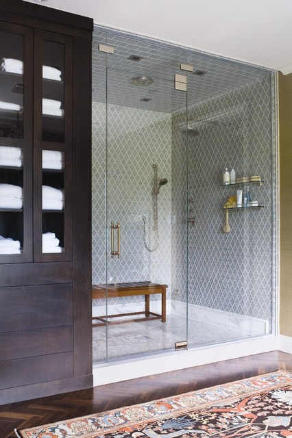 Teak Shower Bench Bathroom Traditional with Accent Tiles Area Rug