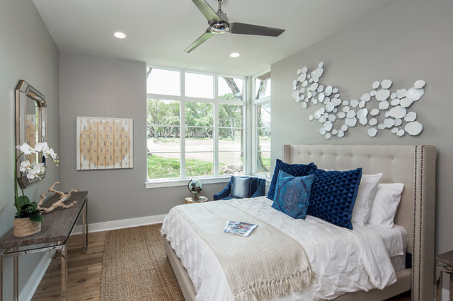 Tealight Candles Bedroom Contemporary with Beige Blue Ceiling Fan