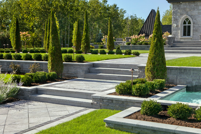 Techo Bloc Landscape Traditional with Backyard Chateau Grass Landscape