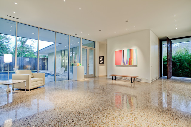 Terrazzo Flooring Entry Modern with Art Lighting Gallery Glass