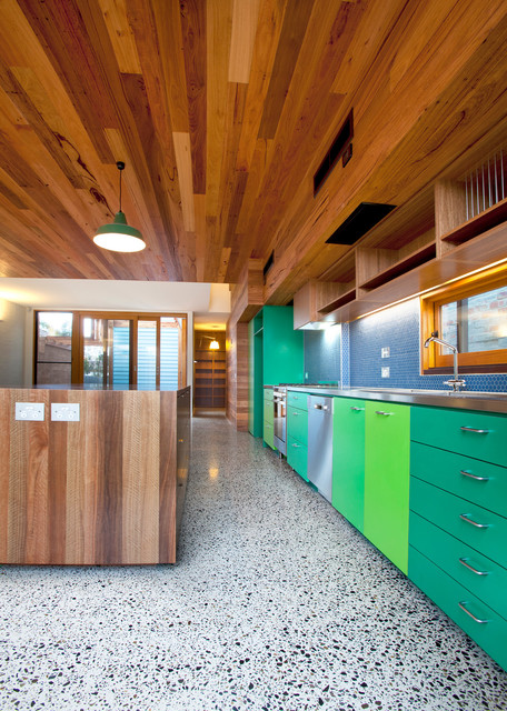 Terrazzo Flooring Kitchen Contemporary with Bright Green Kitchen Island