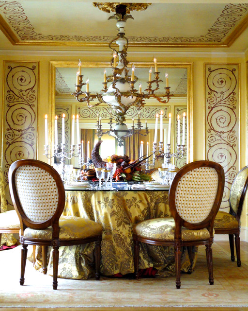 Terry Cloth Bathrobe Dining Room Traditional with Chandelier Dining Room Gilded