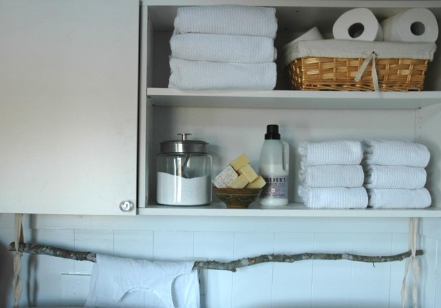 Terry Cloth Bathrobe Laundry Room Eclectic with Apothecary Jars Cottage French