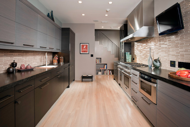 Thermador Refrigerator Kitchen Contemporary with Brown Mosaic Tile Backsplash
