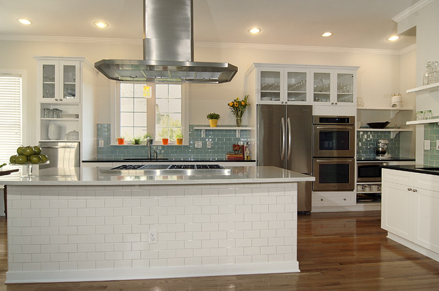 Thermador Refrigerator Kitchen Transitional with Black Pearl Granite Ceiling