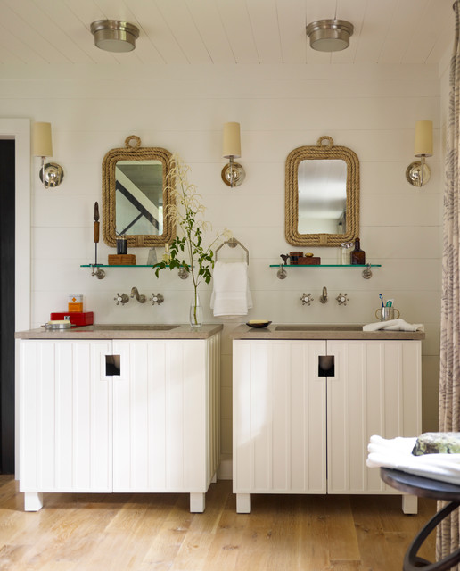 thom filicia Bathroom Beach with brown countertop CEILING LIGHT