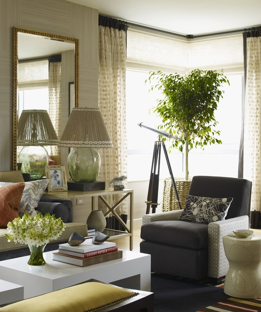Thom Filicia Living Room Eclectic with Armchair Grey Armchair Mirror
