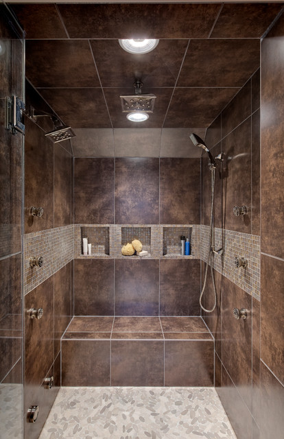 Tiled Showers Bathroom Contemporary with Bath Design Chicago Brown