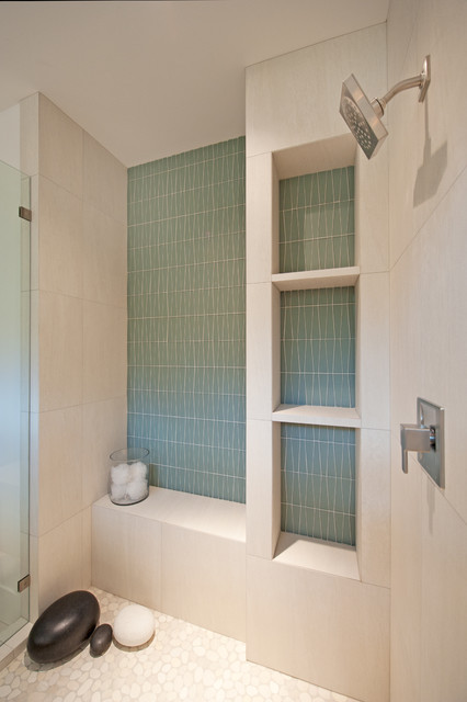 Tiled Showers Bathroom Contemporary with Beige Tile Shower Wall